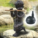 Bermuda Pan Pipes Statue + MightyMite 1000lph Pond Pump