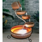 PondXpert Solar Water Feature Cascade with LED Terracotta